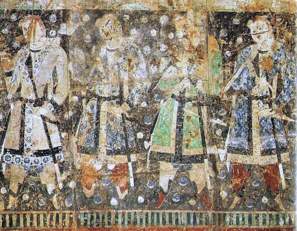 Tocharscy ofiarodawcy ubrani na modłę sasanidzką, źródło: Wikimedia Commons